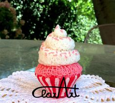 Cupcake 3Dpen, rosa + rosso + bianco glow in the dark, plastica ABS