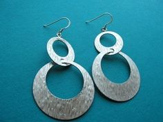 Silver Retro Circle Earrings by PiperBlue