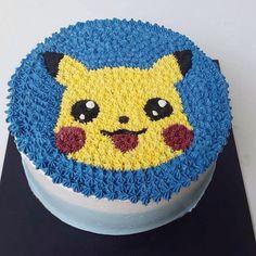 Buttercream Cake >< Pikachu Theme 💙💛, Thank You For Ordering ! Pokemon Birthday Cake, Pokemon Party, Pokemon Cakes, Cake Birthday, Pokemon Go, Pikachu Cake, My Little Pony Cake, Buttercream Cake, Cute Cakes