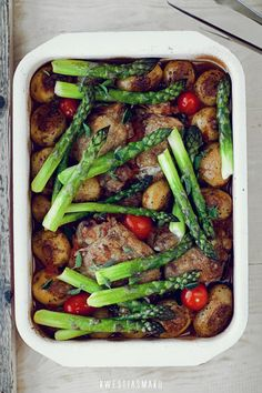 Roasted Chicken with Potatoes and Asparagus