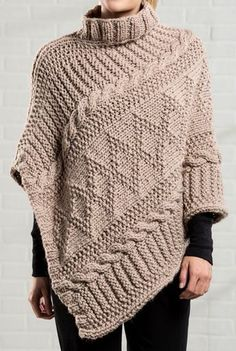 Free Knitting Pattern for Gansey Poncho - The poncho is knit in a single long panel that is folded in half and sewn together along one side, with an opening left for the neck. The sideways construction made this look crocheted to me but it's knit! Designed by Premier Yarns.
