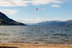 View of Okanagan Lake from beach in Penticton, B.C.