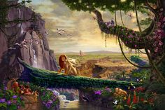 Disney Lion King – Return to Pride Rock – Limited Edition Canvas - After watching The Lion King several times, pouring over hundreds of stills from the film and researching the back story, Thomas Kinkade Studios set out to Thomas Kinkade Disney Puzzles, Thomas Kinkade Art, Thomas Kinkade Disney Paintings, Disney Kunst, Disney Art, Kinkade Paintings, Oil Paintings, Thomas Kincaid, Walt Disney Movies