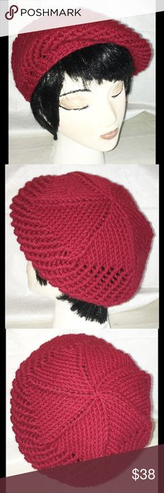 Beret Knit Hat HAND MADE Eyelet Design Red NEW BRAND NEW, HAND MADE knit beret hat, made by local artist in California USA.. Please review pictures for details and additional description. Hand Made Accessories Hats