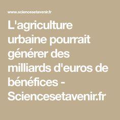 L'agriculture urbaine pourrait générer des milliards d'euros de bénéfices - Sciencesetavenir.fr