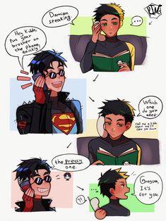 Batman Comic Art, Batman And Superman, Batman Robin, Marvel Dc Comics, Marvel Avengers, Tim Drake, Marvel Funny, Funny Comics, Super Sons