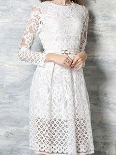 Midi-kleid Aus Spitze, Mittellanges Kleid Mit Ärmeln, Sexy Spitzenkleid, Weißes  Kleid e5e662685a