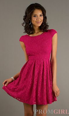 Short Lace Cap Sleeve Dress at PromGirl.com