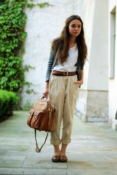 Baggy Khakis + Loafers
