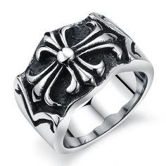 Vintage Stainless Steel Cross Hearts Men's Ring, Biker Punk Band, Silver Black Color Comfort Fit 8