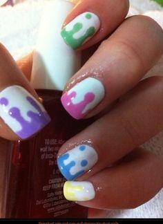 Cute drippy nail art for teens!