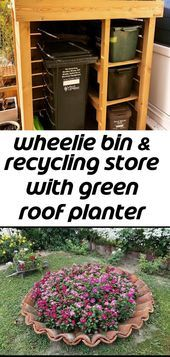 Wheelie bin & recycling store with green roof planter - All For Garden Mason Jar Planter, Mason Jars, Roofing Specialists, Roof Sealant, Roof Ladder, Roof Tiles, Mason Jar Lighting, Diy Garden Decor, How To Level Ground