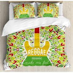 Ambesonne Rasta Reggae Music Makes Me Feel Good Quote Jamaican Island Culture Iconic Guitar Duvet Set Size: