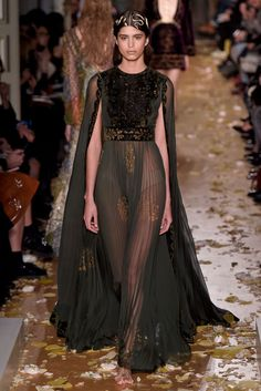 sheer black cape gown by Valentino / 2016 Couture #runway