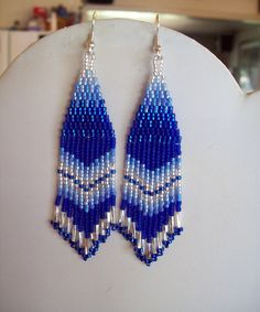 Beautiful Native American Style Beaded Blue and Silver Earrings Peyote, BrickStitch, Boho, Hippie, G Rose Earrings, Seed Bead Earrings, Fringe Earrings, Turquoise Earrings, Women's Earrings, Silver Earrings, Seed Beads, Native American Beading, Native American Fashion
