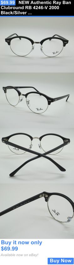 ray ban eyeglass frames uk  eyeglass frames: new authentic ray ban clubround rb 4246 v 2000 black/silver