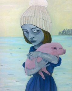 "Saatchi Online Artist MARIE VAN ELDER; Painting, ""Girl and Pig "" #art"