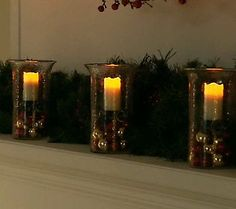 Fillable hurricane w/flameless candle...customize to your personal decorating style.