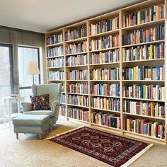 Happy Monday from this reader who is *officially* out of shelf space. I'm planning to do a book purge this week because, scanning through… Home Library Design, Dream Library, Home Office Design, House Design, Library Shelves, Bookshelves, Beautiful Interiors, Beautiful Homes, Ivar Regal
