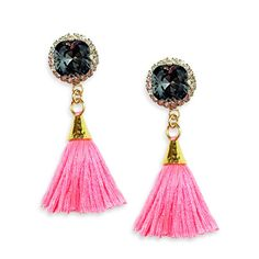 Sea Elise Tiny Dancer Earring- mini tassel earrings with a hammered gold cone and rhinestone encrusted gray Swarovski crystal stone. Available now at Et Cetera!