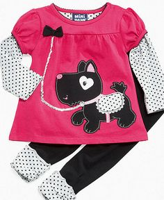 Mini Bean Baby Set, Baby Girls Puppy Shirt and Leggings - Kids Newborn Shop - Macy's Cute Little Girls Outfits, Kids Outfits, Cute Outfits, Girls Fashion Clothes, Girl Costumes, Kids Shirts, Couture, Mini, Baby Set