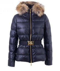 Stylish Moncler Angers Womens Down Jacket Fur Hat Navy [2899927] - £157.99 : 5% off discount code: happywinter