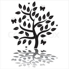 Vector of 'black tree silhouette with butterflies'