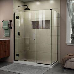 DreamLine Unidoor-X 45.5 in. x 72 in. Frameless Corner Hinge Shower Enclosure in Satin Black