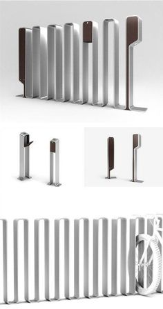 Inox steel system as a bike rack, an ashtray or a light bollard OMEGA-P BY NIGHT by CITYSI #metal