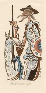 Cervantes, Don Quijote, Caballo, Ex Libris Ex Libris Pf 1974, por Karel oberthor