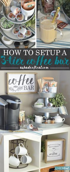 My updated coffee bar! Learn how to setup a 3-tier Coffee Bar, plus get these FREE Coffee Printables! #StarbucksCaffeLatte, #MyStarbucksatHome #ad | A Shade Of Teal #Coffee