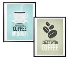 Retro-Style Coffee Prints. These are super cute! I wish I drank coffee, they'd be great in a kitchen!