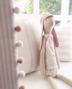 Evie Stripe and Powder Pink Ivory Pom Pom Trim Handmade in our Workshop. Image courtesy of Clarabelle Interiors. - Peony & Sage