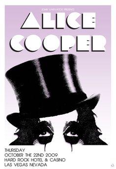 "poster design 24 X 35 ""Alice Cooper"" for John Varvatos © Scarlet Rowe Image & Design Alice Cooper, John Varvatos, Vintage Concert Posters, Vintage Posters, Tour Posters, Music Posters, Band Posters, Detroit, Pop Art"