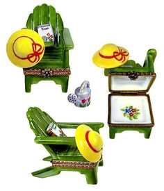 Limoges - Green Adirondack Chair w/ hat, book & watering can