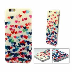 Hard PolyCarbonate iPhone 6/6S case of multi coloured hearts on an off-white background.