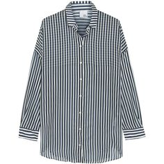 Iris and Ink Alanis striped cotton and silk-blend boyfriend shirt (€135) ❤ liked on Polyvore featuring tops, shirts, blouses, midnight blue, loose fit tops, loose tops, blue cotton shirt, stripe shirt and shirts & tops
