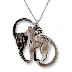 Cat Pair Necklace | Enamel Cat Necklace | Zarah Jewelry
