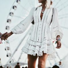 Weekend 1 Coachella Outfit Ideas to Wear Beyond Festival Season Coachella Outfits We're loving Happily Grey in This Ruffle Detailed white mini dress Spring Summer Fashion, Spring Outfits, Trendy Outfits, Cute Outfits, Festival Outfits, Festival Fashion, Boho Fashion, Fashion Outfits, Womens Fashion