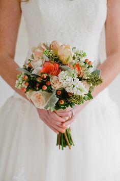 Coral Berry Bouquet | Rachel Peters Photography | Theknot.com