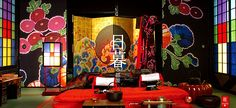 Japanese sliding doors and screen on the set of Sakuran the movie. Set Design Theatre, Stage Design, Booth Design, Japanese Modern, Japanese House, Japanese Style, Interior Architecture, Interior And Exterior, Interior Design