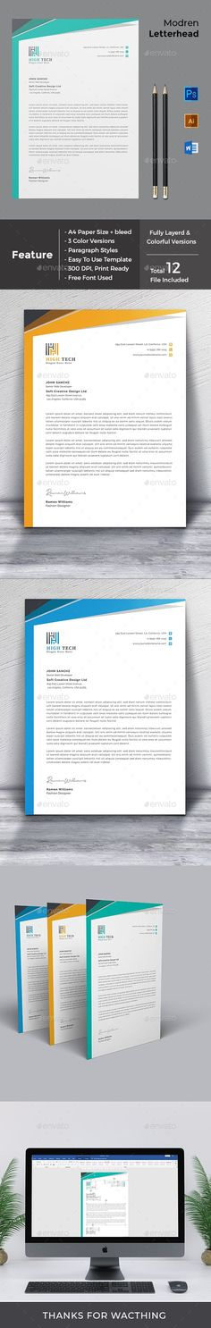 Letterhead Word Template with super modern and Corporate look. page are very easy to use and so you can quickly tailor-make your letterhead for any opportunity. Use this letterhead template for company or corporate use Letterhead Design, Letterhead Template, A4 Paper, Paper Size, Change Image, Page Design, Photoshop, Templates, Make It Yourself