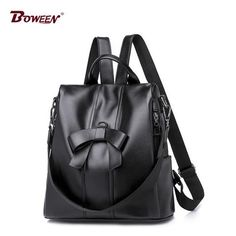 Fashion Bow Sweet lady backpack leather pu soft Solid Pink girl back pack women Preppy Style female bagpack bag black 2018 new From Touchy Style Outfit Accessories Sling Backpack Purse, Leather Backpack Purse, Shoulder Backpack, Leather Shoulder Bag, Travel Backpack, Shoulder Strap, Tote Bag, Vintage Backpacks, Girl Backpacks