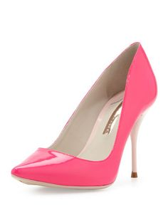 Lola Glossy Point-Toe Pump, Hot Pink/Blush by Sophia Webster at Neiman Marcus.