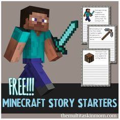 Free Minecraft Story Starters.  Perfect for Home Schooling or just some extra writing practice after school ~~ MilitaryAvenue.com