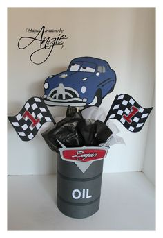 oil can tooth brush holder? Disney Cars Party, Disney Cars Birthday, Car Themed Parties, Cars Birthday Parties, Car Centerpieces, Centrepieces, Cars Party Foods, Race Car Themes, Hot Wheels Party