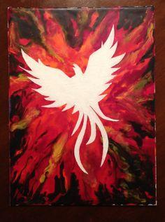Phoenix - melted crayon art