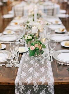 lace table runner - beautiful over a rustic wooden table at a wedding reception or dinner party