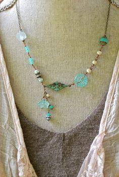 Chloe. aqua,beaded,bohemian,lariat necklace.Tiedupmemories