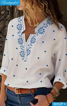 Shopping Casual V-Neck Star Print Long Sleeve Shirt online with high-quality and best prices Shirts & Blouses at Luvyle. Long Sleeve Tops, Long Sleeve Shirts, Site Mode, Vetements T Shirt, Bohemian Blouses, Fashion Outfits, Womens Fashion, Emo Outfits, Punk Fashion